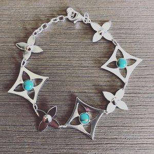 Sterling silver turquoise floral bracelet